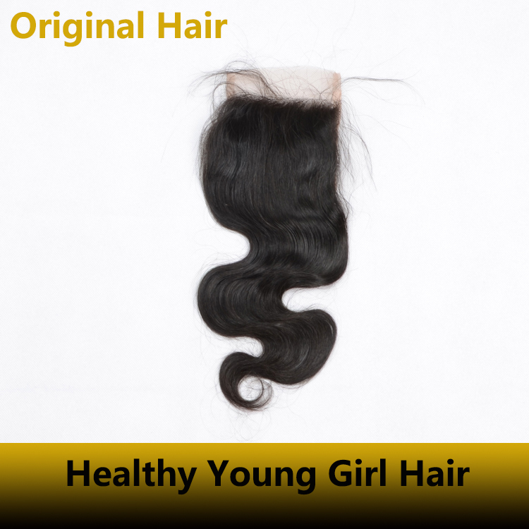 1pcs Free shipping Lace top closure body wave 100% virgin human Closure can restyle natural color frontal closure soft touching