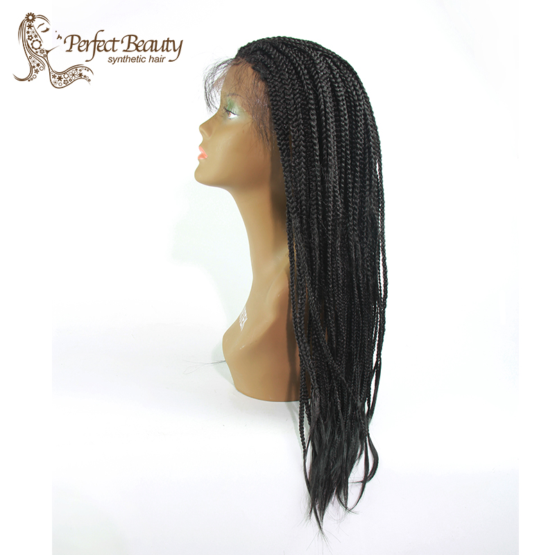 "Фотография Women Synthetic Hair Micro Braided Wig Heat Resistant Box Braid Wig with Baby Hair 18"" Black Braided Wig for Women"