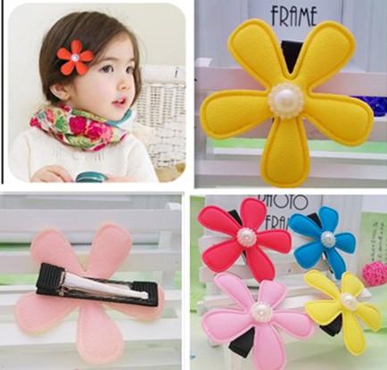 Новый 4 цветов 5 см Цветочные Заколки Милый Головной Убор Цветок Клип Детские Заколки ...
