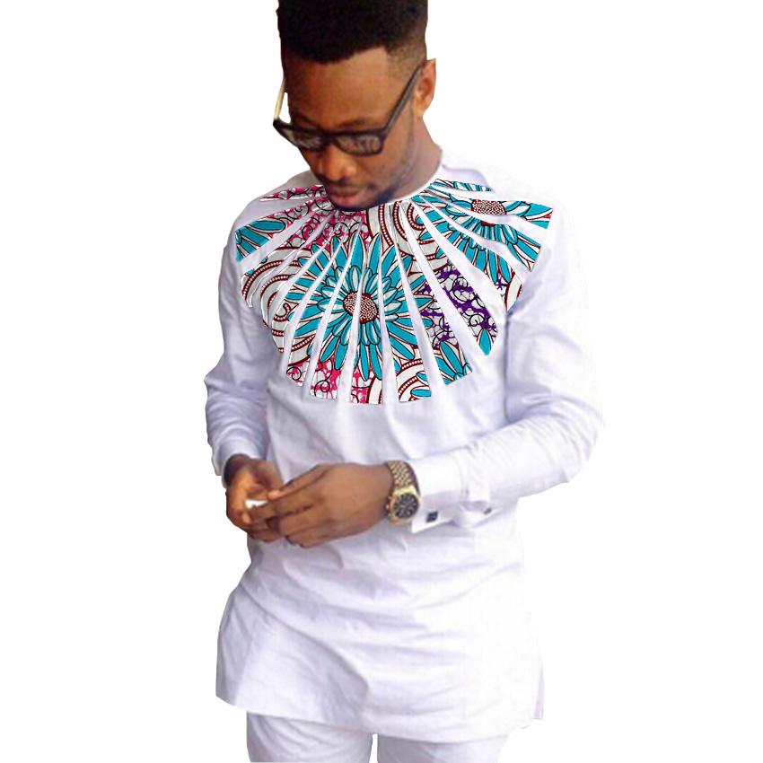 Buy Private Custom Men Print Long Sleeve Dashiki Shirts Mens Patchwork African