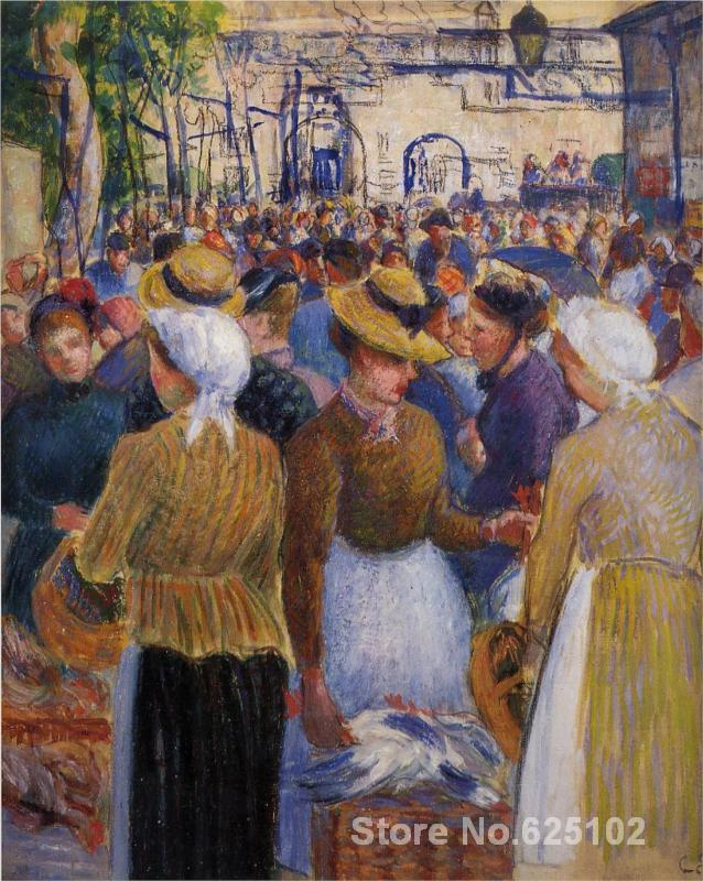 Landscape paintings,Poultry Market at Gisors,Camille Pissarro Canvas reproduction,High quality,Hand-painted(China (Mainland))