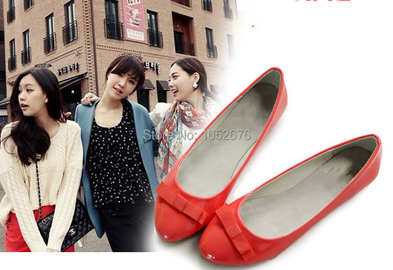 Free shipping Candy color leather shoes Bowknot is pointed shoes with flat sole 0643(China (Mainland))