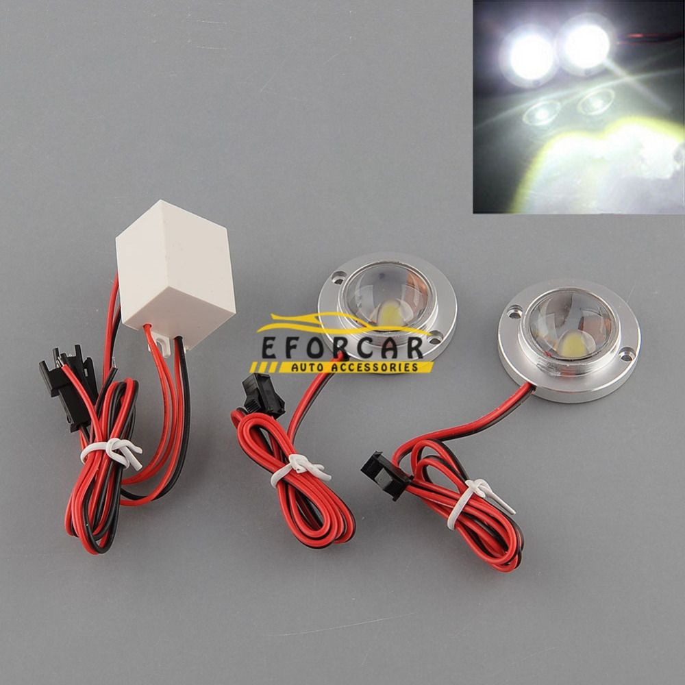 200 pairs Car 2 LED Strobe Emergency Driving White Effective Saving Light Controller<br><br>Aliexpress