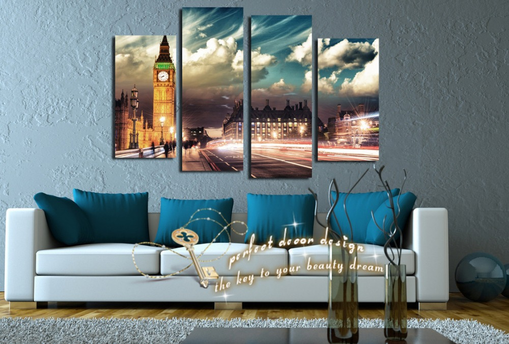 Abstract City New Hot Selling Logo Clock Printed Picture Art Pictures Cuadros Painting On Wall Wedding Decoration Printed HD(China (Mainland))