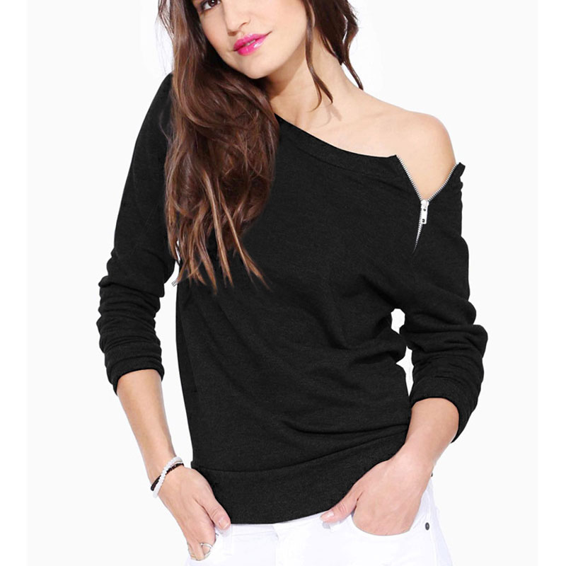 Spring Autumn Casual Blouse Off Shoulder 2016 New Women Shirts Long Sleeve Side Zipper Tops High Quality Sweater Women's Shirts(China (Mainland))
