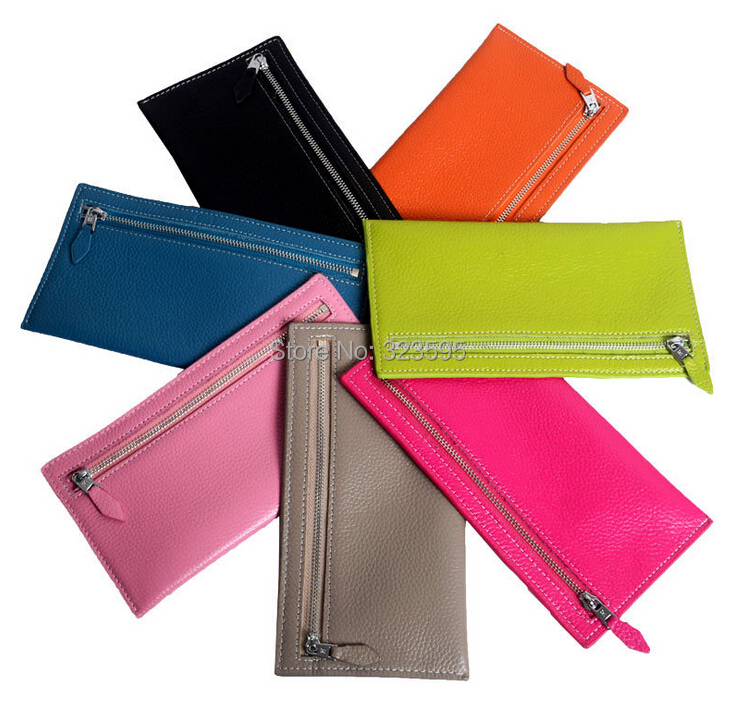Free shipping women H er clutch wallet first layer cow genuine leather wholesale(China (Mainland))