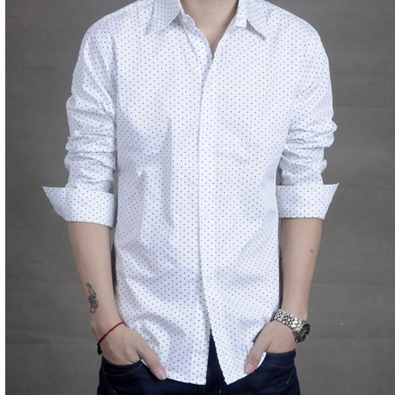 Popular White Shirt with Black Dots for Mens-Buy Cheap White Shirt ...