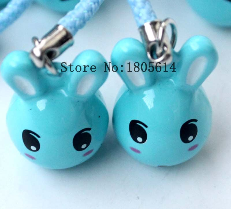50pcs lovely Copper bule Rabbit Head Cartoon Bells Fit Charms mobile phone Pendant Christmas Party Decoration Free Shipping(China (Mainland))