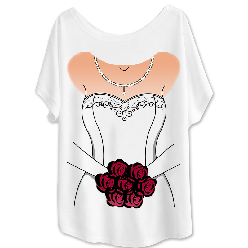 Loose Printed Wedding Dress Bride Flowers Clothing Girl Batwing Sleeve Ladies Clothes Belle Shirt Women Round Neck Girl's Style(China (Mainland))