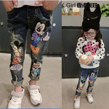 2-8Yrs Children Pants girls jeans Spring Baby Girl Cartoon Mouse Jeans Trousers Fashion Children Clothing Jeans Girls Kids Jeans