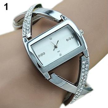 Womens Crystal Rhinestone Stainless Steel Dress Watch Accent PU Leather Strap Analog Quartz 5L2F