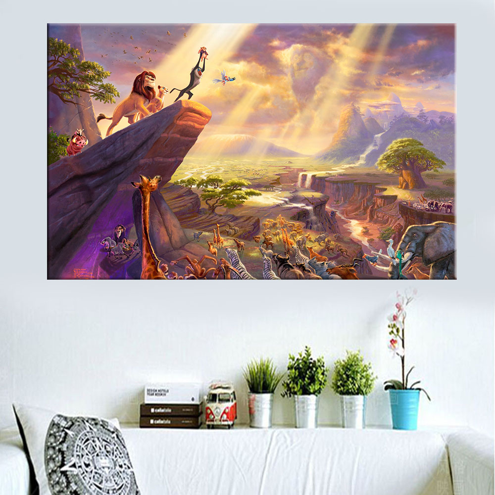 Thomas kinkade Modern Home Decor Oil Painting Lion King Of Animal Canvas Prints Picture Movie Poster For Child Room Unframed(China (Mainland))
