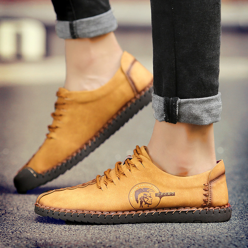 New Casual Men Genuine Leather Flat Shoes Quality Hand Made Retro Leisure Sport Braided Shoes Men Zapatillas Hombre Footwear(China (Mainland))