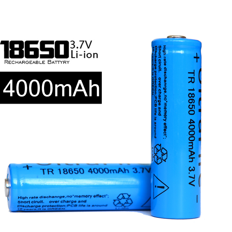 100pcs/lot Wholesale 18650 Battery 3.7V 4000mAh Rechargeable Li-ion Battery for Led Flashlight Toys Electric Accessories(China (Mainland))