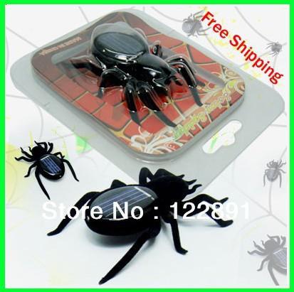 Wholesale! Solar Toy Solar Powered Spider Solar Spider Toy Educational Robot Toys Educational Toy Gift 50pcs/lot Free shipping(China (Mainland))