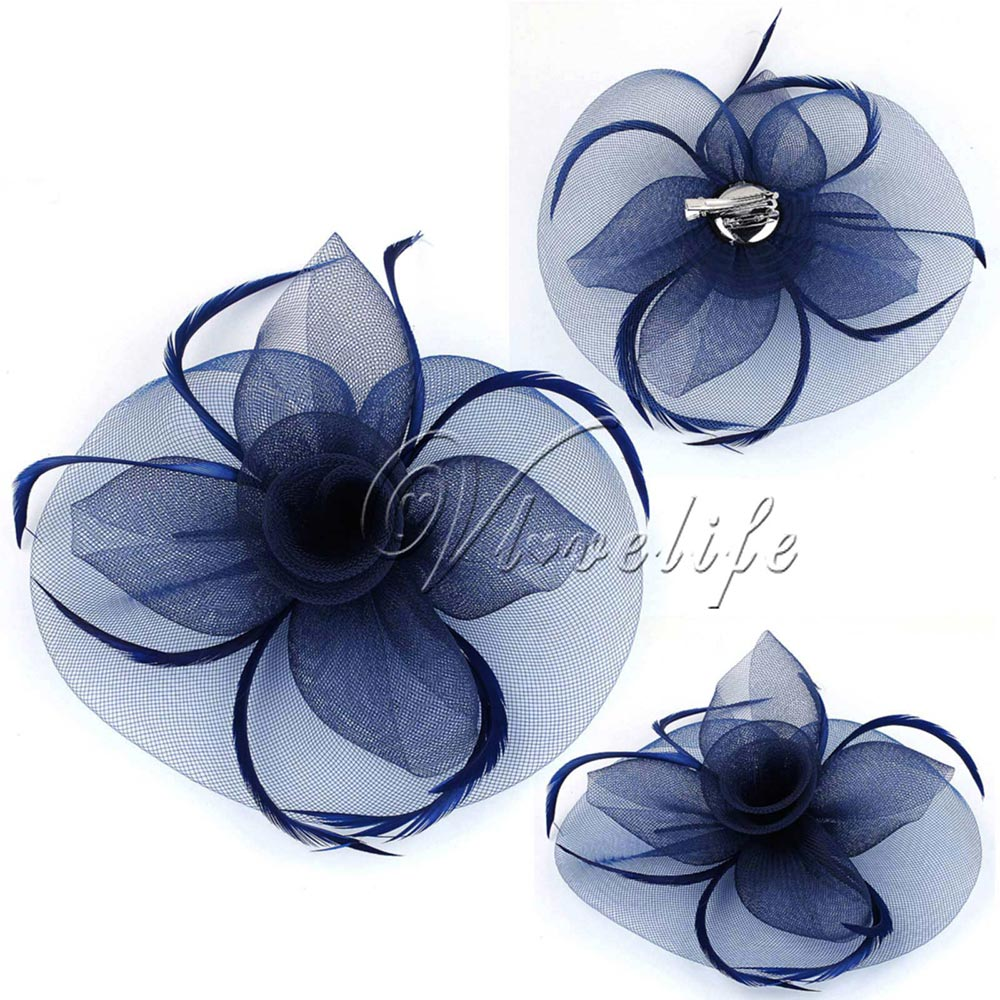Navy Blue Fashion Handmade Lady Women Fascinator Bow Hair Clip Headwear Lace Feather Mini Hat Wedding Party Accessory Race(China (Mainland))