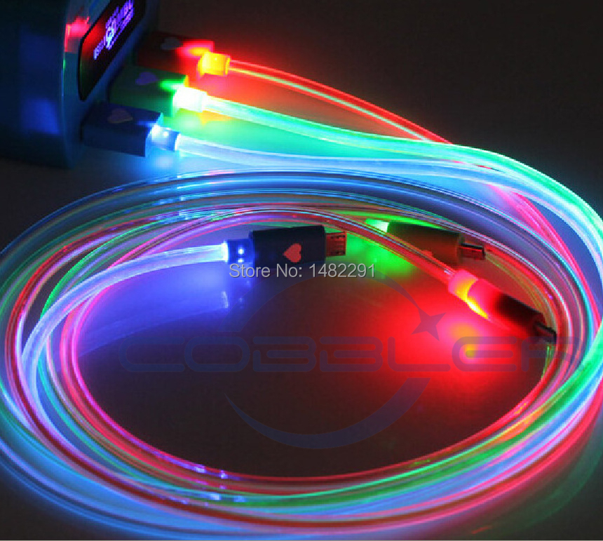 20pcs/lot Colorful LED Micro USB Charge Data Cable$Android System For Samsung Galaxy S4 S6 Note 4 HTC LG Blackberry Cell Phone(China (Mainland))
