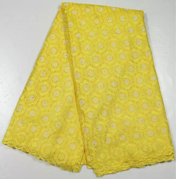 Free shipping !! ( 5yards/lot ) Elegant small flower pattern African dry cotton lace fabric in yellow for wedding dress 4AB02(China (Mainland))