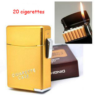 (20 cigarettes)Best automatic metal cigarette case with lighter,men's cigarette lighter box free shipping(China (Mainland))