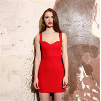 Summer 2015 New Sexy Women Bodycon Bandage Dress Vintage Party Evening Club Girl Clothes  black red sexy dress AY850663