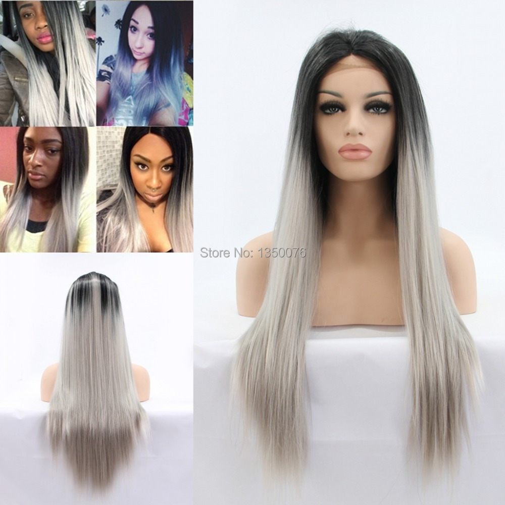 Silk Straight Gray Synthetic Lace Front Wig Glueless Ombre Tone Color Black Grey Heat Resistant Hair Wigs/fast SHIPPING Hot - Queen Virgin Beauty ( store)