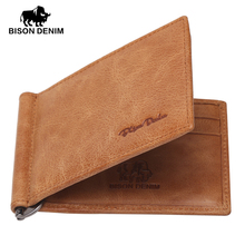 BISON DENIM Genuine Leather Mini wallet Men Zipper Coins Wallet Dollar money clip High Quality wallet with card ID Case W9330(China (Mainland))