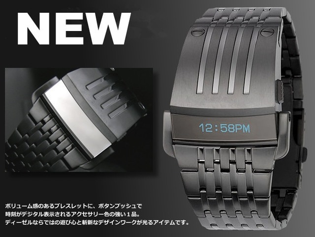 Hot Iron man Conception Japanese Die sel Blue LED Mens Watch DZ7080 ,Free Gift Box Free Shipping
