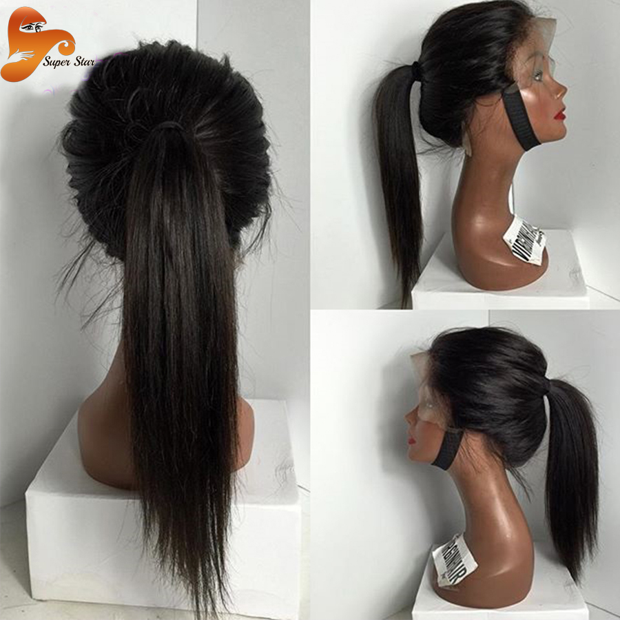 Silky Straight Full Lace Human Hair Wigs For Black Women Virgin Brazilian Glueless Lace Front Wigs&Full Lace Wigs With Baby Hair