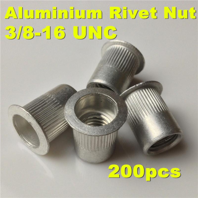 200pcs  3/8-16 UNC Aluminium Rivet nut 3/8 Alu Insert Nut   Aluminum  PEM Rivet Nut  inserts Imperial Size<br><br>Aliexpress