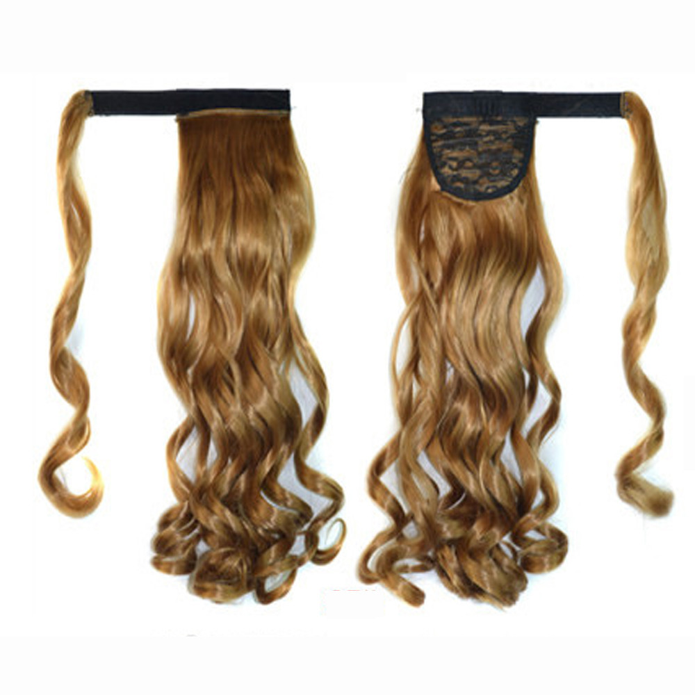 kai yunly 1PC Real Clip In Human Hair Extension Curly Pony Tail Wrap Around Ponytail Khaki G Oct 26