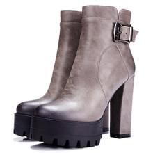 ESVEVA 2020 Western Braun Schnalle Frauen Stiefel Runde Kappe Frühling Herbst Schuhe Platz High Heel Plattform Sexy Stiefeletten Größe 34-42(China)