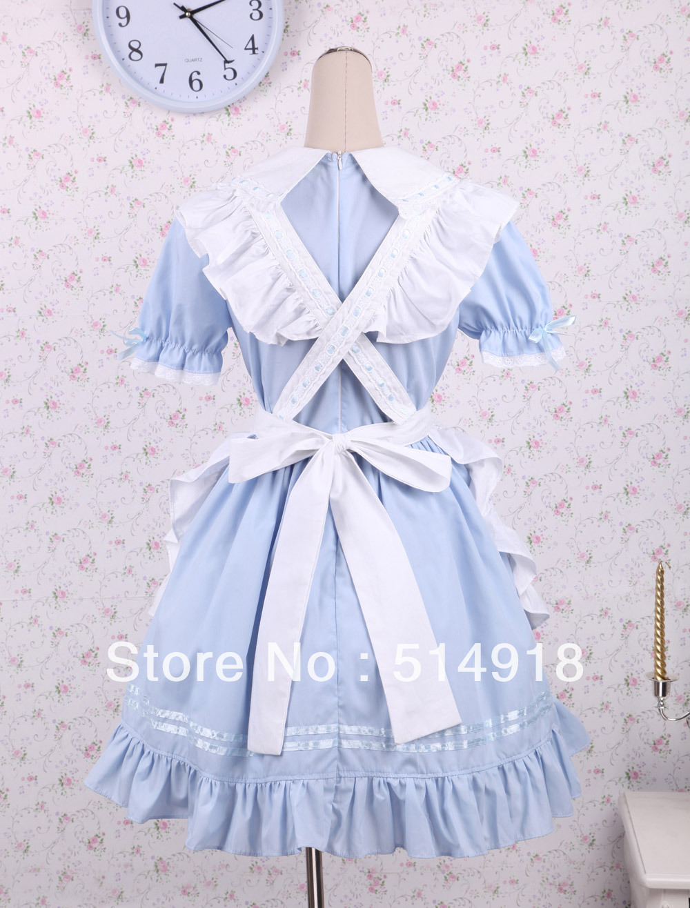 White apron in store -  Tomsuit Blue And White Short Sleeve Turndown Collar Ruffle Sweet School Lolita Dress With White Apron