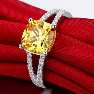 Luxury 925 silver Ring with Gold plated VVS1 Synthetic SONA Yellow Diamond Wedding Rings For Women, 2015 certificate offer(China (Mainland))