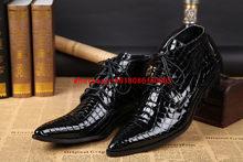 Zobairou Sonbahar Kış Çizmeler Siyah Hakiki Deri Punk Ayakkabı Timsah Derisi Chelsea Çizmeler Erkekler Kovboy Askeri Botlar iş ayakkabısı(China)