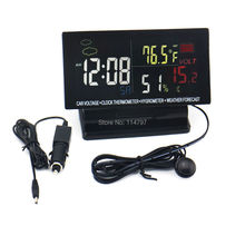 40PCS/LOT LCD Digital Time Clock Car Thermometer Hygrometer Volt Weather calendar Forecast(China (Mainland))