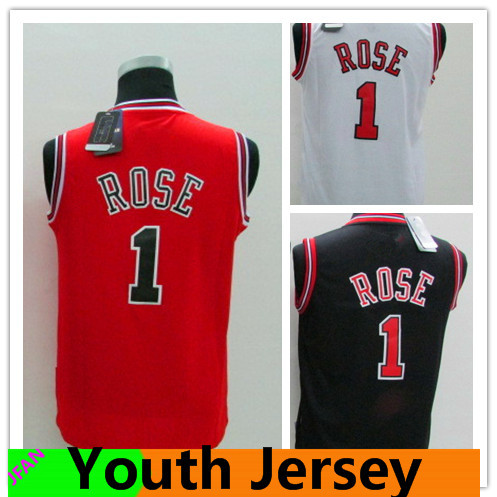 1 Derrick Rose kids Jersey Chicago Youth Basketball Jerseys New Rev 30 Stitched Logos Derrick Rose boys Shirts free shipping(China (Mainland))