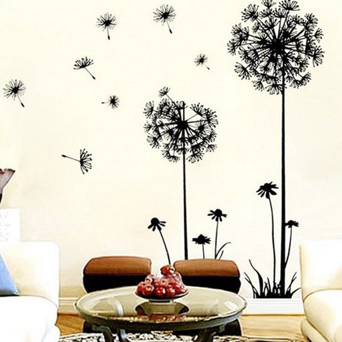 2015 Hot Sale, 1PC New Arrival Creative Dandelion Removable Wall Stickers Mural PVC Home Decor Wall Stickeres for Your Home(China (Mainland))