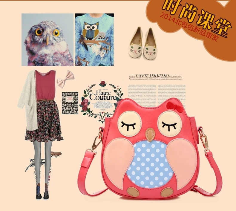 2015 OWL design FREE Shipping High quality Outdoor fashion PU leather message bag for lady, fashion ,awesome!!(China (Mainland))