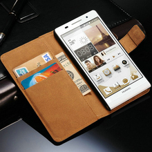 New 2015 Genuine Leather Case For Huawei Ascend P6 Vintage Phone Bag Wallet Style With Stand and Card Holders Free shipping(China (Mainland))