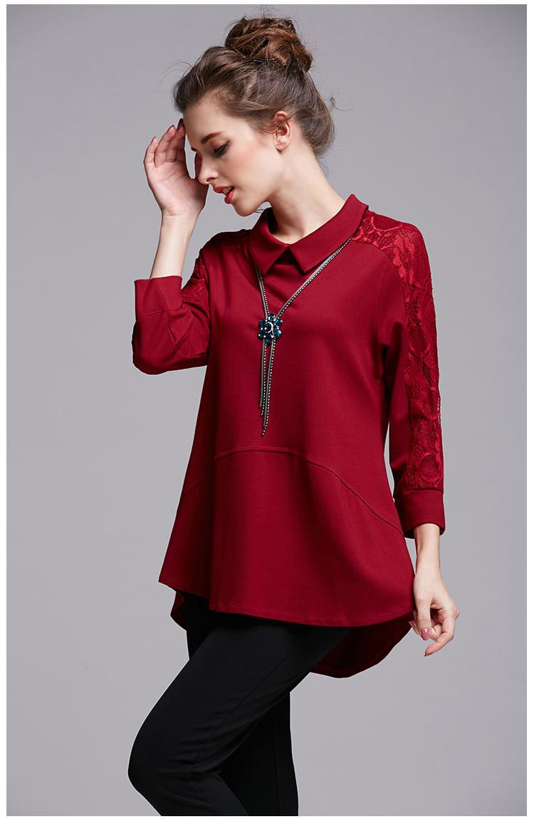 Europe Large Size Shirt Women Tops Camisetas Mujer 2016 Autumn Long Sleeve Red Loose T-shirt Blusas Y Camisas Mujer 71755