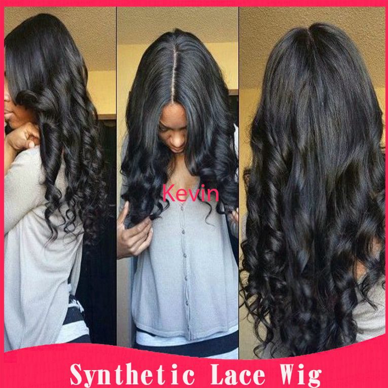 cheap wigs Middle part 3inch body wave synthetic hair lace front wig 12-26inch heat resistant wig for black woman long hair wig<br><br>Aliexpress