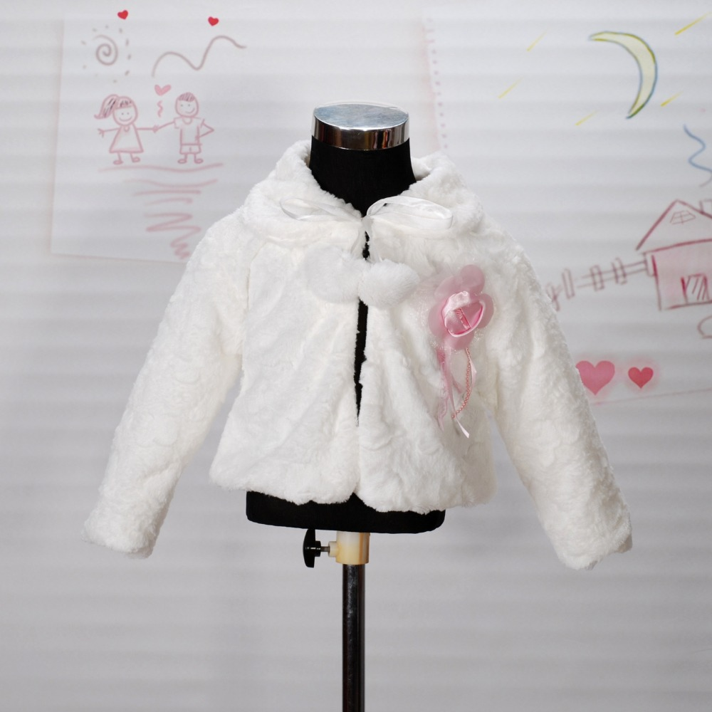 T05 New Arrival 2014 Girls Jackets and Coats Winter Faux Fur Long Sleeves Kids Fashion Flower Girl Bolero in Ivory Pink 2-8Year(China (Mainland))