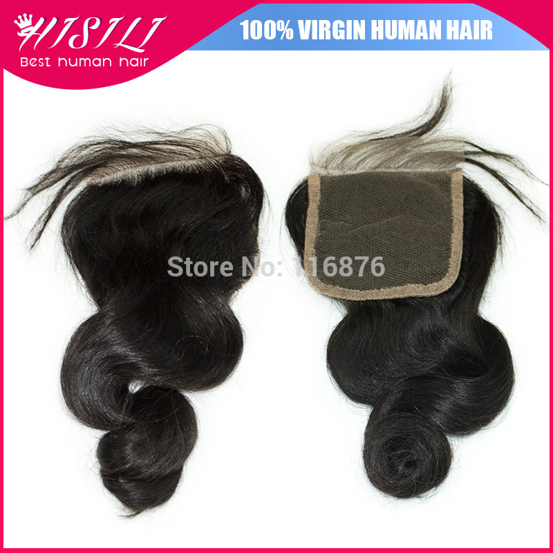 Grade 8A Brazilian Loose Wave Closure 4*4 Virgin Human Hair Loose Curly Swiss Lace Closure With Bleached Knots(China (Mainland))