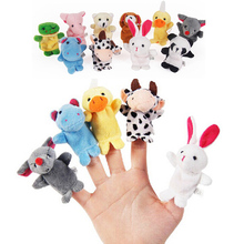 10PCS Cute Cartoon Biological Animal Finger Puppet Plush Toys Child Baby Favor Dolls Boys Girls Finger Puppets(China (Mainland))