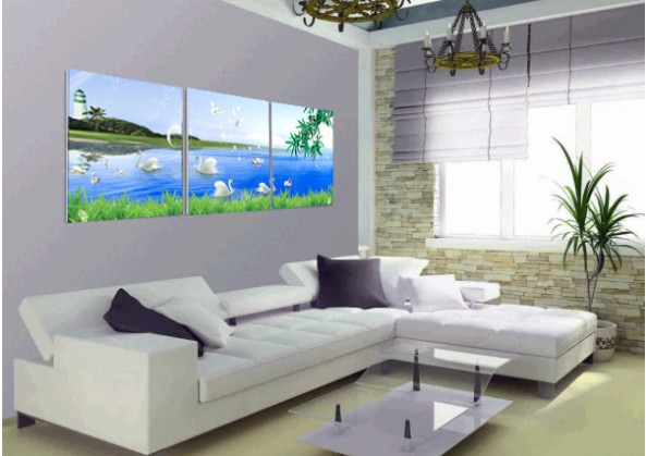 3 panels Wholesale high quality canvas printing picture swan palying in the lake Home wall decoration(no Framed)(China (Mainland))