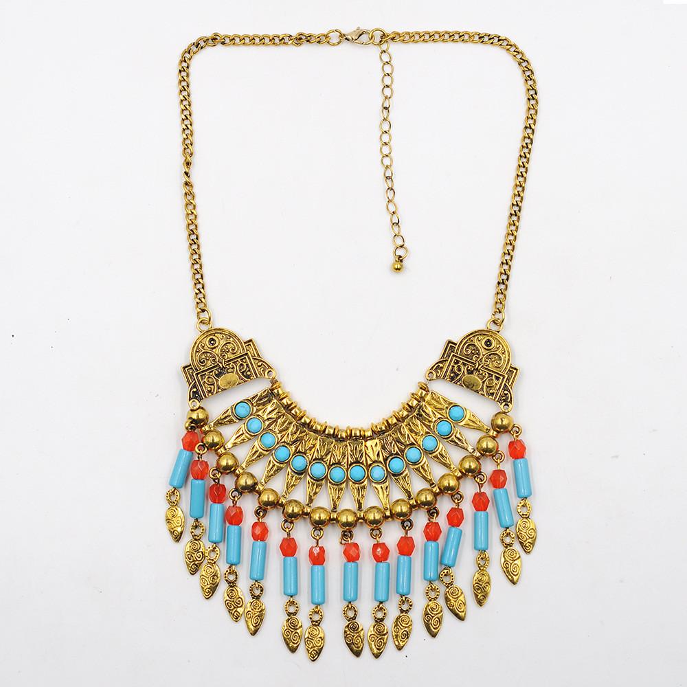 Maxi Collier Boho Necklace Statement Bib Plastron Collier Femme Vintage Multi Strand Necklace Fringe Turquoise Tribal Jewelry(China (Mainland))