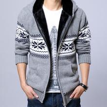 2016 Men Fleece Hooded Knit Sweaters Christmas Snowflake Mens Thick Sweater Zipper Cardigan Jacket 13M0212(China (Mainland))