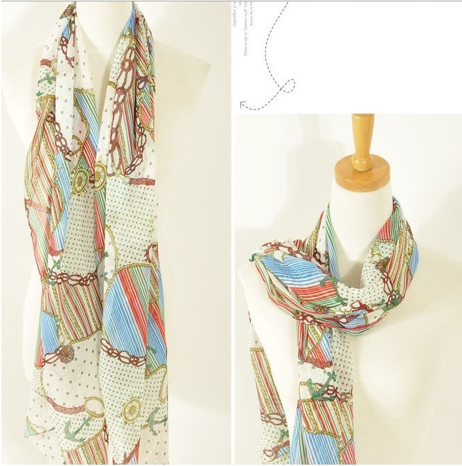 2012 vintage navy style anchor chain pattern scarf chiffon silk scarf red w19(China (Mainland))