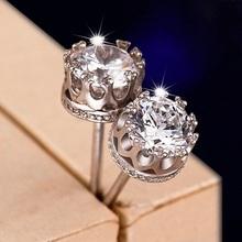 Sale 8mm CZ Diamond 925 Sterling Silver Earrings for Women Men Jewelry Cool Men Stud Earrings Vintage Women Earrings Couples D7(China (Mainland))