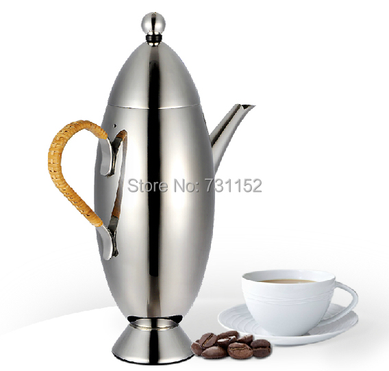 High End French Press Coffee Maker : stainless steel coffee pot french press jug coffee maker High quality 700ml olive shape-in ...